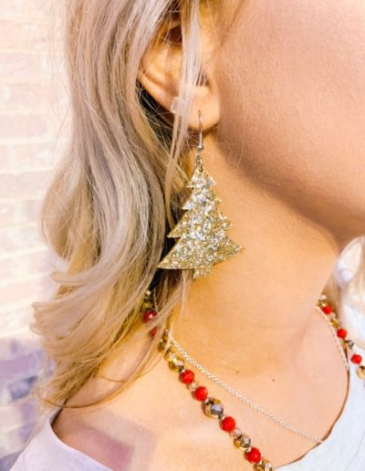 Christmas Tree Earrings (Gold)